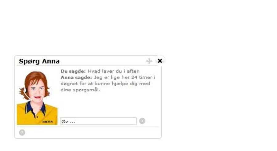 Her ses IKEAs chat-robot, Anna, mens hun svarer på spørgsmål.