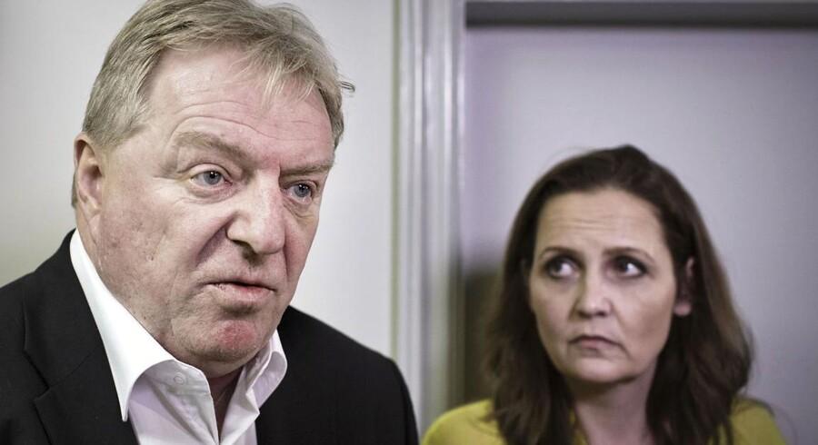 Kim Christiansen fra Dansk Folkeparti og trafikminister Pia Olsen Dyhr under forhandlingerne om Togfonden, der gled af sporet, da DF krævede en letbane til Billund.