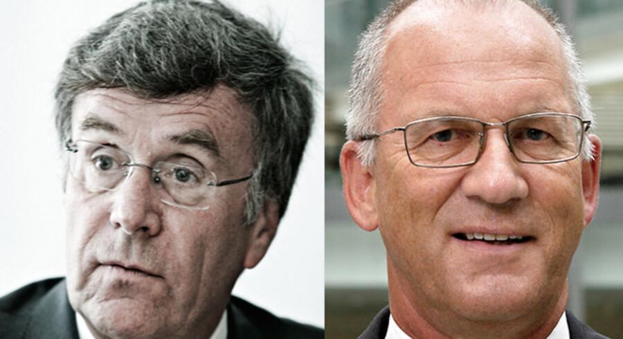 GN Store Nord og bestyrelsesformand Mogens Hugo (t.h.) blev i 2007 slået tilbage til start, da de tyske konkurrencemyndigheder forhindrede fusionen med schweiziske Phonak. Det satte gang i en ledelseskrise med dobbeltspil, handlingslammelse, magtkamp og handlekraft. Ud af det kom valget af Per Wold-Olsen (t.v.) som stærk bestyrelsesformand, der satte gang i en turnaround af dimensioner, der har gjort GN Store Nord til en børsraket.