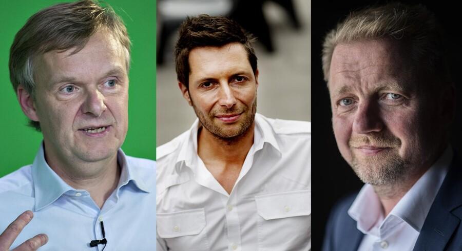 Ekstra Bladets chefredaktør Poul Madsen, DR's studievært Kåre Quist og Venstres Martin Geertsen.