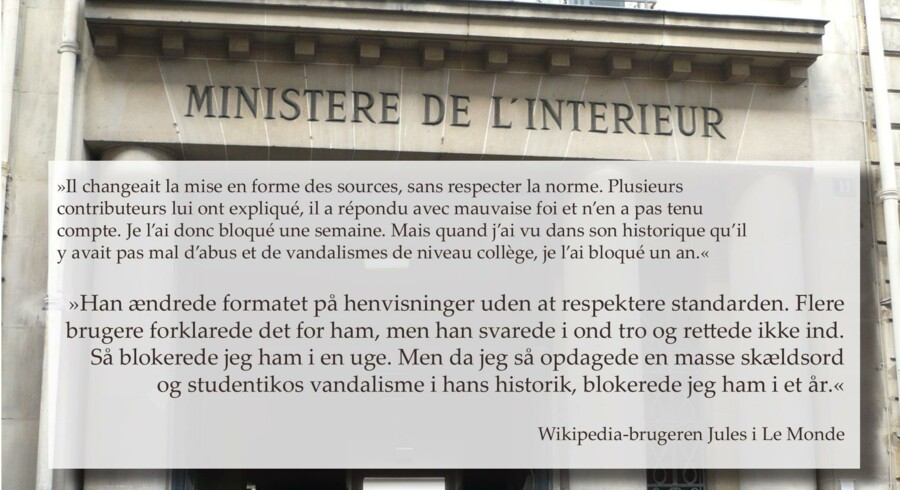 Indgangen til det franske indenrigsministerium i Rue des Saussaies i Paris.