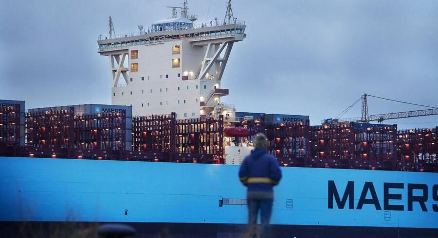 Verdens største containerskib på Langelinje Kaj i København.