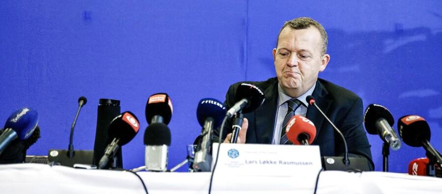 ARKIVFOTO 2013 af Lars Løkke Rasmussen til pressemøde angående økonomien i GGGI.