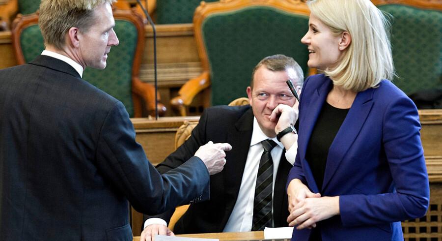 ARKIVFOTO 2014 af Helle Thorning-Schmidt, Lars Løkke Rasmussen og Kristian Thulesen Dahl (tv).