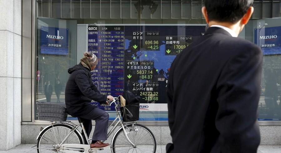 Den næste rentestigning i USA kommer formentlig til at vente lidt ekstra på sig, fordi der siden decembers renteforhøjelse - som desuden var den første i knap et årti - er kommet en del usikkerhed på de finansielle markeder. REUTERS/Yuya Shino