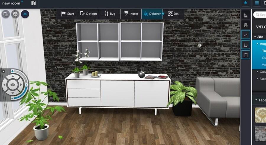 Et færdigt indretningsresultat kan se sådan ud. Både vægge, gulve, vinduer og møbler kan placeres, så det passer bedst muligt til kundens eget hjem. Se en guide til at designe dit eget hjem på de næste billeder.
