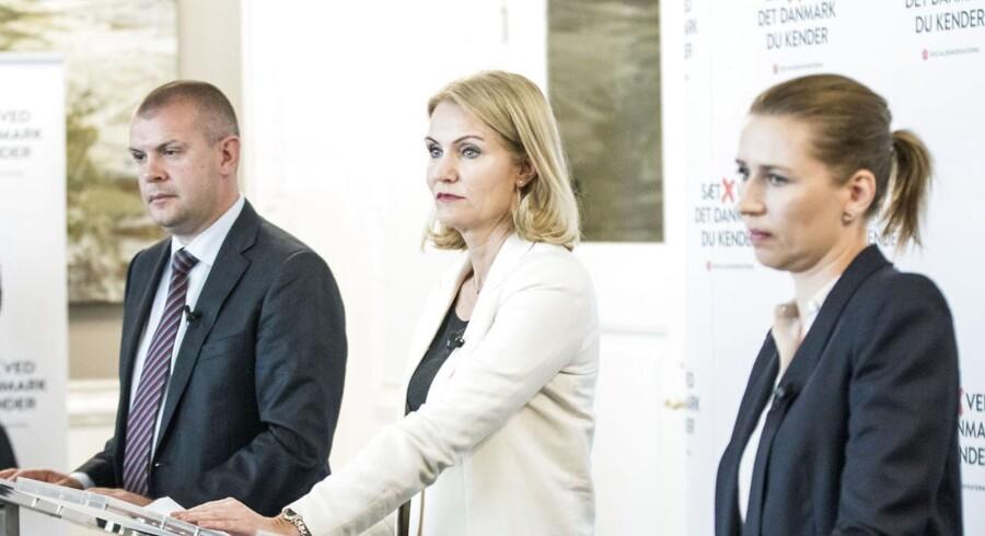 Statsminister Helle Thorning-Schmidt, finansminister Bjarne Corydon og justitsminister Mette Frederiksen holder afsluttende pressemøde om valgkampen
