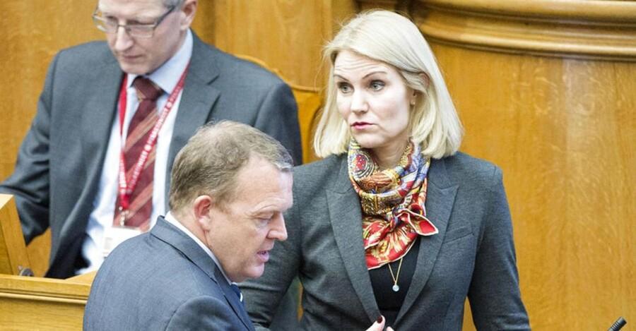 Statsministerens spørgetime i Folketinget. Statsminister Helle Thorning-Schmidt (S) og Lars Løkke Rasmussen (V).