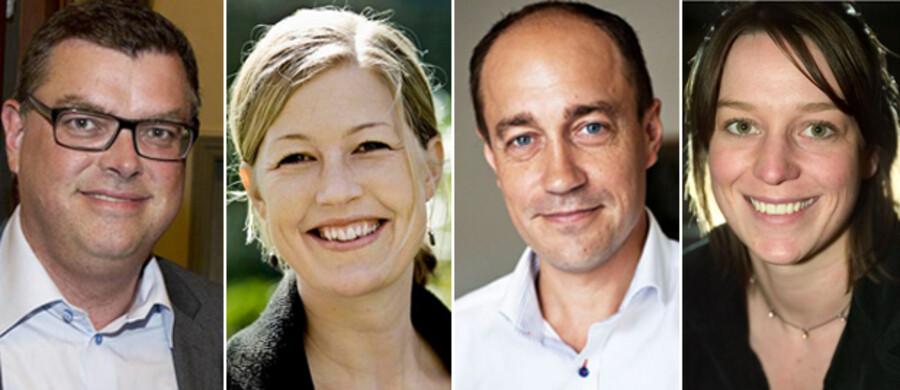 Mogens Jensen (S), Sofie Carsten Nielsen (R), Magnus Heunicke (S) og Kirsten Brosbøl (S) er de helt nye ministre i regeringen, men flere andre har fået nye opgaver. Se alle de nye ministre på de følgende fotos.
