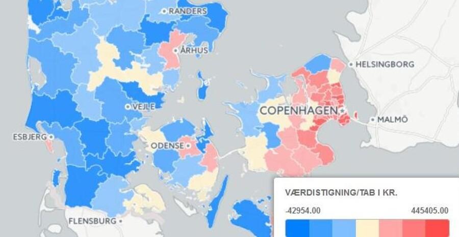 Så meget rigere er de danske boligejere blevet kommune for kommune