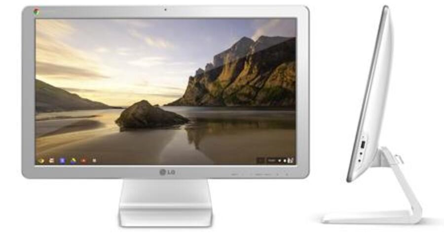 Sådan ser LGs nye alt-i-en-PC, Chromebase, ud. Den rummer det hele men kræver en internetforbindelse for at kunne fungere, for mange af programmerne og lagerpladsen ligger på nettet. Der er premiere til januar. Foto: LG