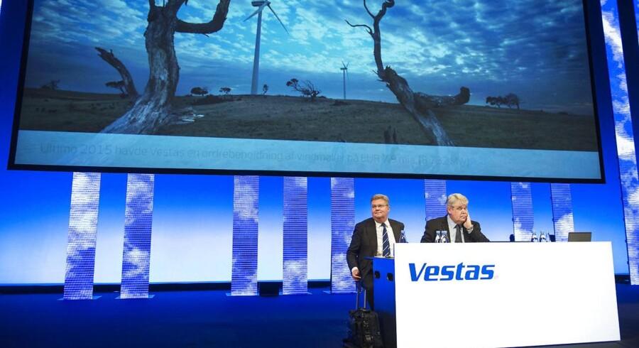 Onsdag afviklede Vestas deres årlige generalforsamling i Musikhuset i Aarhus. Anders Runevad (tv) Group President & CEO og bestyrelsesformand Bert Nordberg (th).