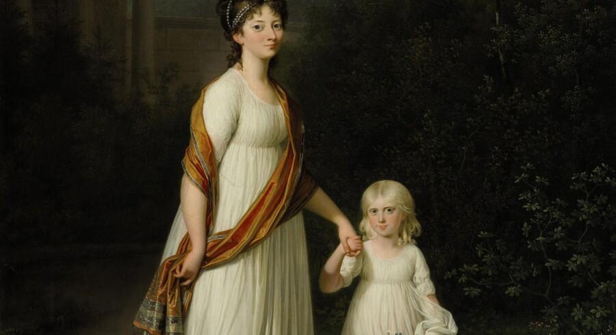 Portrættet af Jens Juel forestillende kronprinsesse Marie og hendes datter, prinsesse Caroline. Foto: PR