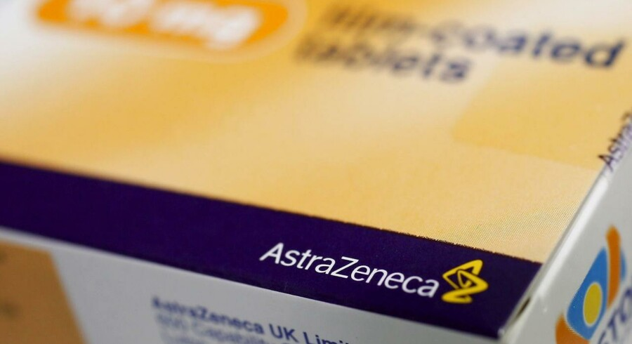 The logo of AstraZeneca is seen on a medication package in a pharmacy in London in this April 28, 2014 file photo.