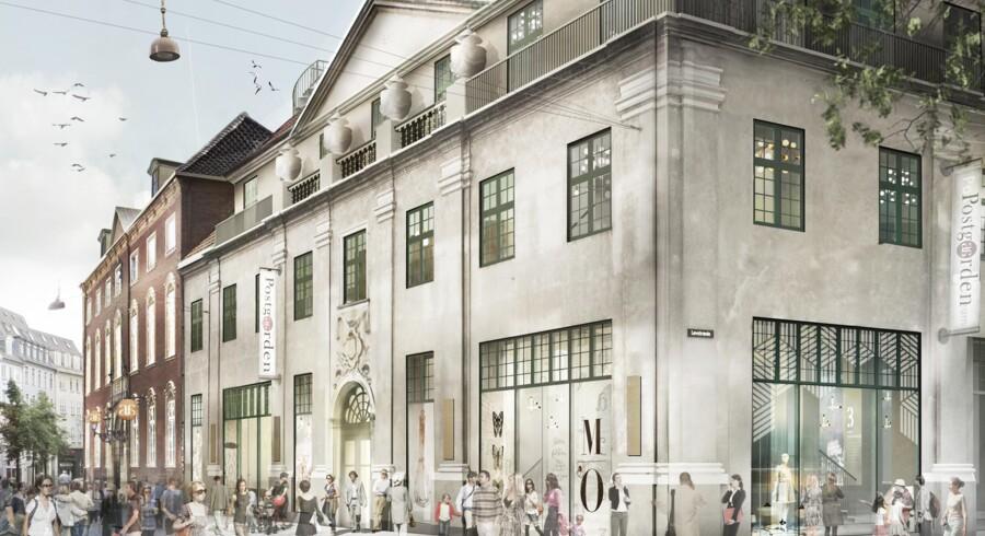PFA Pension købte i december 2014 postkomplekset på Købmagergade af PostNord for 400 mio. kr. Efter renovering og ombygning for omkring 150 mio. kr. kan ejendommen fra 2016 komme til at fremstå sådan - set fra gågaden.