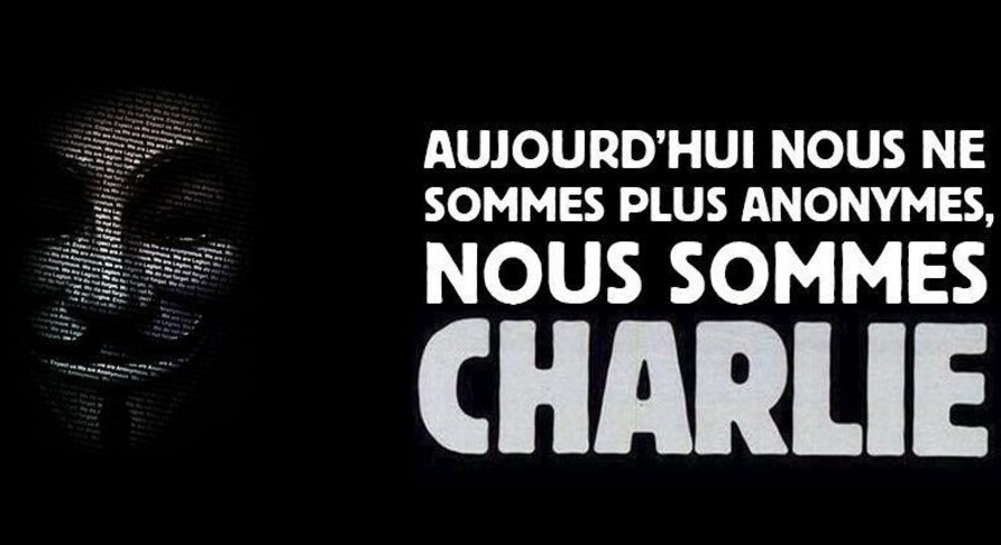 Medlemmer af hackergruppen Anonymous har planer om at erstatte indholdet på diverse islamistiske hjemmesider med dette skilt med bevægelsens karakteristiske maske og billeder af kontroversielle satiriske tegninger fra Charlie Hebdo.
