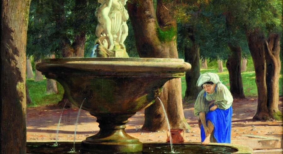 Som skik og brug måtte kunstnerne rejse til Italien som et led i deres (ud)dannelse. Villa Borghese i Rom var et yndet motiv. Også for Jørgen Roed i dette maleri fra 1844, der tilhører Nivaagaard. Illustration fra bogen