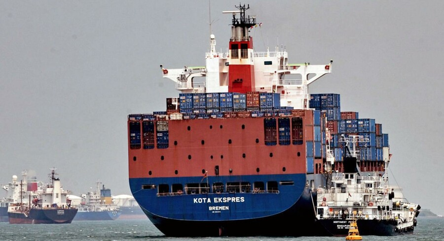 A picture taken on August 3, 2009 shows a container vessel anchored off the coast of Singapore.