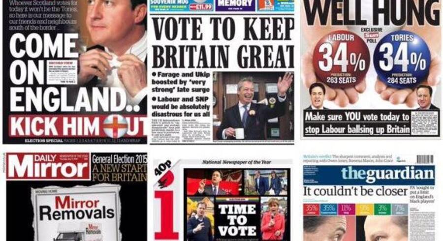 Samling af britiske aviser i forbindelse med parlamentsvalget.