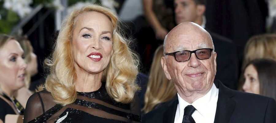 Jerry Hall og Rupert Murdoch til Golden Globe-overrækkelse søndag aften i Hollywood.