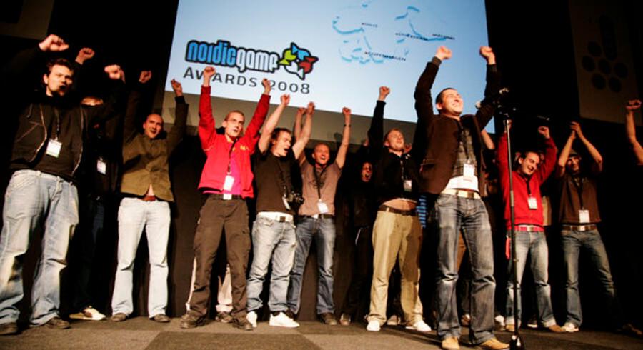 Jubel på scenen, da sidste års hædersbevisninger blev delt ud på Nordic Game 2008. Foto: Nordicgame.com