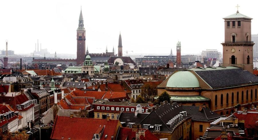 København set fra rundetårn. Tårne. Tage. Kirke.