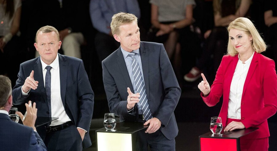 Lars Løkke Rasmussen (V), Kristian Thulesen Dahl (DF) og Helle Thorning-Schmidt (S) debatterer op til folketingsvalget i juni 2015.