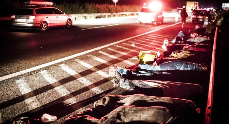 Udmattede lagde flygtningene sig til at hvile langs motorvejen.