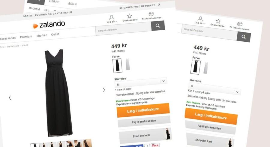Zalando er også stor på nethandel med mode i Danmark. På skærmbillederne ses hvordan lagerstatus angives for en vare i den danske netbutik. Advarslen er dog kun givet til den tyske netbutik.