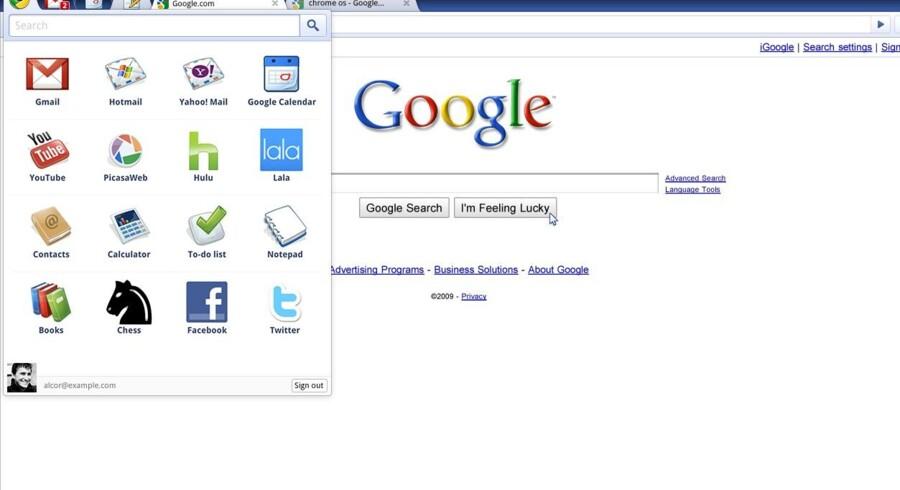 Sådan ser skærmbilledet ud i den foreløbige udgave af Googles nye styresystem, Chrome OS, der skal konkurrere mod Windows og Mac OS. Arkivfoto: Wikipedia