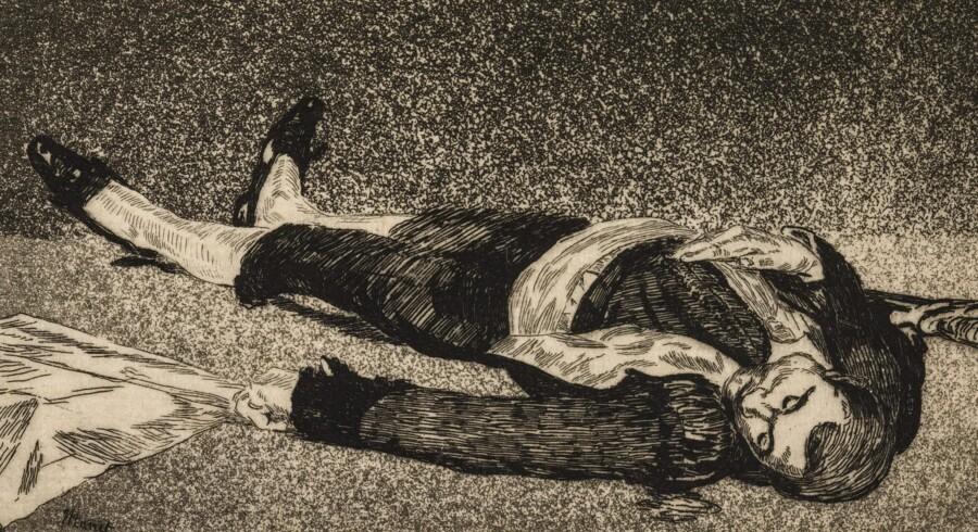 """Både Goya og Manet var optaget af tyrefægtning som motiv. I reglen er det tyren, der møder døden i arenaen. Men undertiden går det anderledes. Dette tryk af Manet hedder """"Den døde toreador"""" og er fra 1867-68. Pressefoto: SMK"""