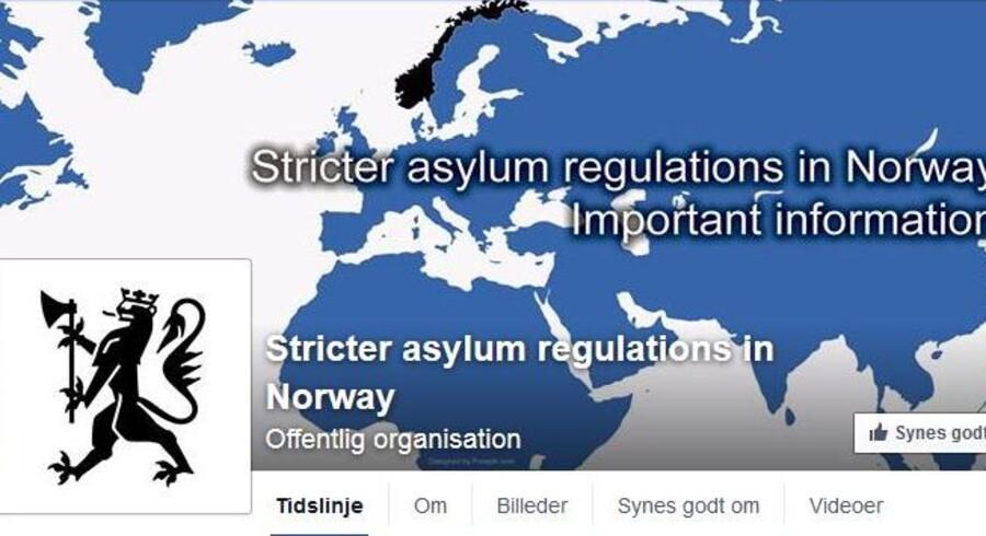 Facebooksiden skal informere om asylforholdene i Norge.