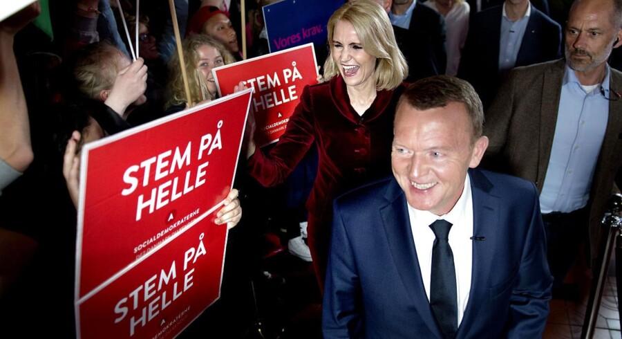 Lars Løkke Rasmussen og Helle Thorning-Schmidt på vej ind til valgkampens sidste partilederrunde.