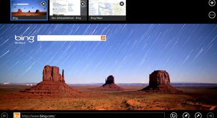 Internet Explorer 10 er blevet helt redesignet. Det er dog ikke alle funktioner fra Windows 8, som vil kunne genfindes på Windows 7. Foto: Microsoft
