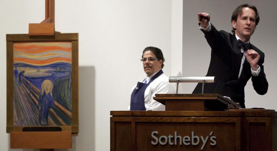 Norske Edvard Munchs »Skriget«, var onsdag aften lokal tid under hammeren hos auktionshuset Sotheby's i New York, hvor det satte ny verdensrekord i auktionspris på et kunstværk.