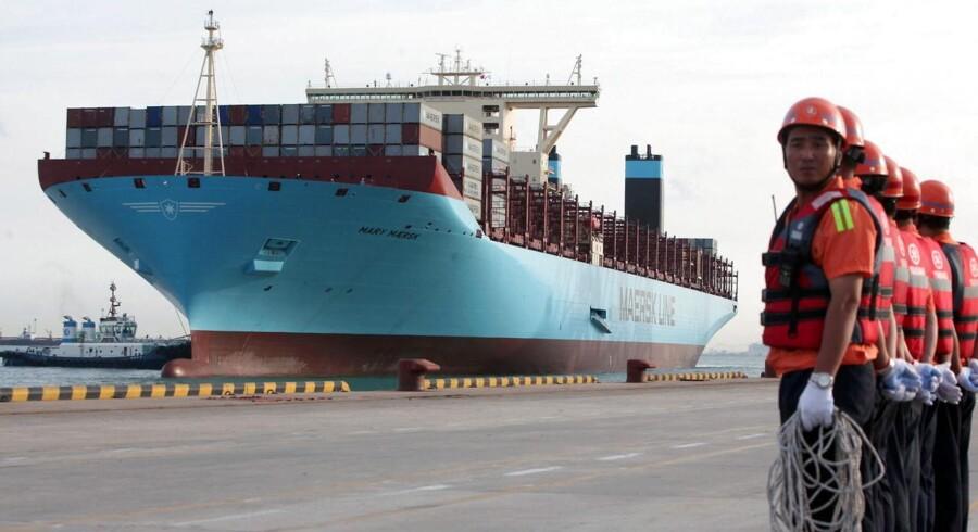 Mærsk-topchef glæder sig over Kinas valutaskvulp. ARKIVFOTO. Mary Maersk ankommer til Qingdao, Kina.