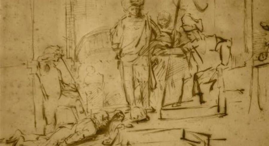 Et udklip af den Rembrandt-tegning, som i lørdags - den 13. august - blev stjålet fra et Ritz-Carlton hotel i Californien.