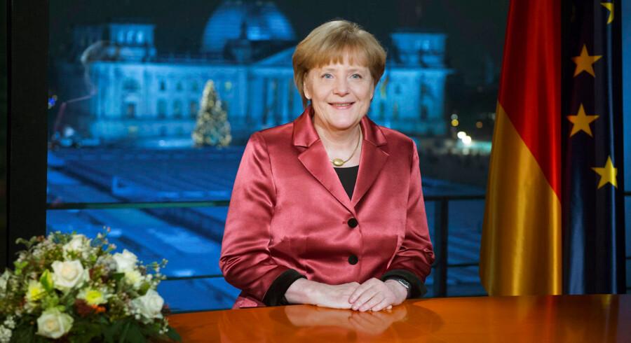 Angela Merkel ved sin nytårstale i Berlin.