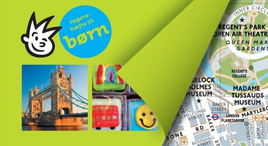 »Med familien i London« byder blandt andet på et lille opgave- og malehæfte, der relaterer til byen. Udsnit af forsiden.