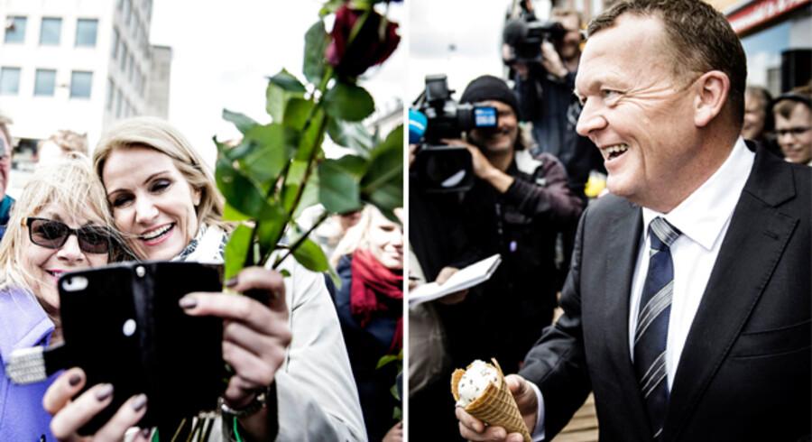 De to kandidater til statsministerposten var kort tid efter udskrivelsen af valget at finde på Nørreport station, hvor der blev uddelt roser og foldere, taget selfies og talt med pressen.