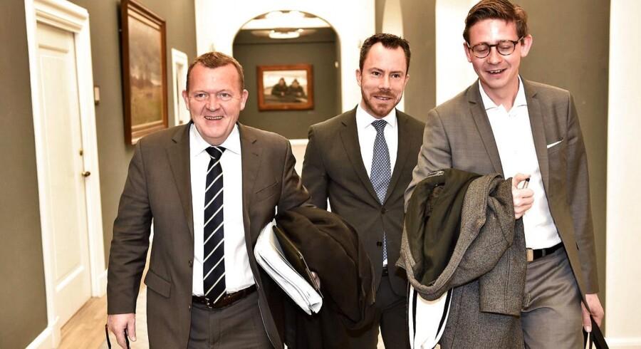 Lars Løkke Rasmussen, Jakob Ellemann-Jensen og Karsten Lauritsen fra Venstre efter mødet om at ændre det danske retsforbehold i EU onsdag d. 11 marts 2015 i Statsministeriet.