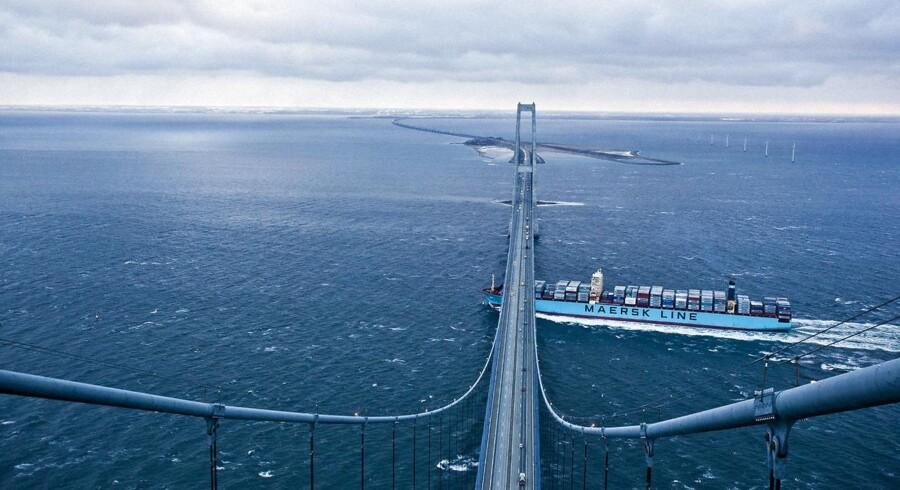Se Ritzau: Maersk Line er et guldæg for A.P. Møller-Mærsk. ARKIV: Storebæltsbroen d. 10.12.2012 Maersk Line. Container skib
