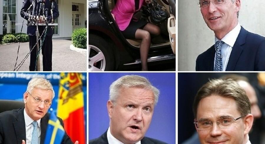 Nordiske ledere på eller i spil til internationale poster: Anders Fogh Rasmussen, Helle Thorning-Schmidt, Jens Stoltenberg, Carl Bildt, Olli Rehn og Jyrki Katainen.