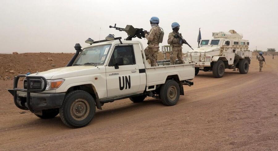 FN-fredsstyrker patruljerer ved Kidal i Mali.