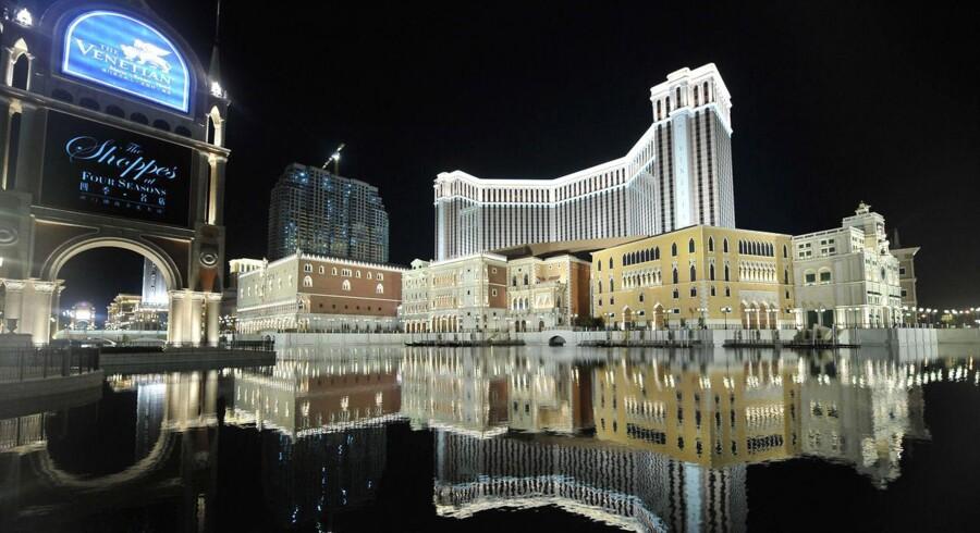 Macaus casino har for faldende omsætning for første gang i fem år, bl.a. pga. VM i fodbold.Her ses Vegas Sands Resort i USA.