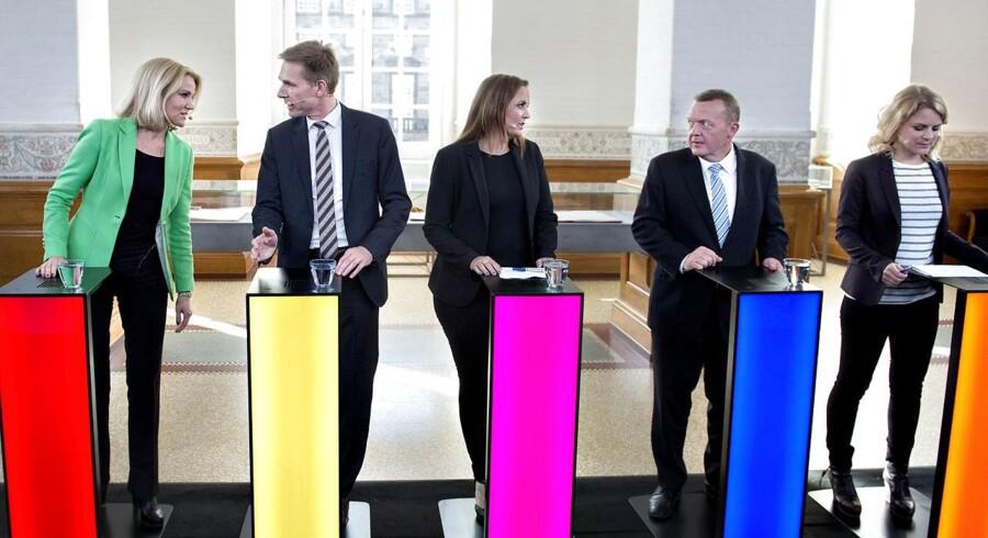 De politiske partier har haft forskellige udviklinger i vælgertilslutningen siden 2011. Her ses en række af partilederne til partiledeerunde.