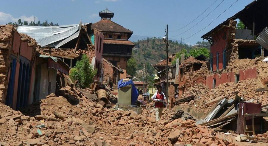 Ruiner i Nuwakot-distriktet, nord for Kathmandu.