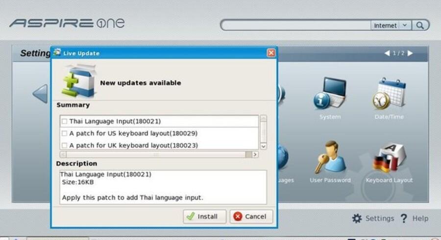 """Først når man har opdateret via nettet, får man ikonet """"Keyboard Layout"""" (yderst til højre), så man kan vælge dansk tastatur overalt. Opdateringerne kører helt af sig selv. Til gengæld kan man ikke umiddelbart slippe af med dem, man har fravalgt, f.eks. som her thai-tastatur."""