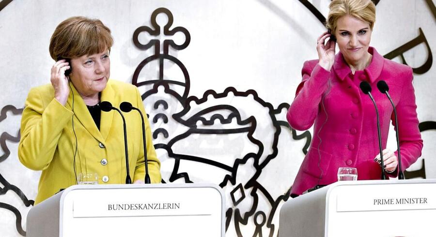 Angela Merkel og statsminister Helle Thorning-Schmidt holder pressemøde på Marienborg