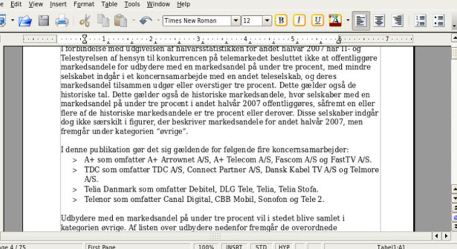 De traditionelle menubjælker fylder godt i landskabet, når skærmen ikke er større. Eventuelt kan man slå dem fra, eller man kan sætte visningen ned fra 100 til 75 procent. Her ses OpenOffice.org, som er tekstbehandlingsprogrammet.